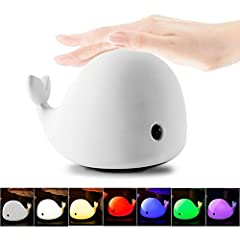 Adorable Dolphin Light: Used high quality silicone material, soft and safe to touch, and no smell, suitable for all toddlers, kids, adults. 4 Modes Whale Tap Light: Dim white light for sleeping - white light for reading -  5 individual color and 5 co...