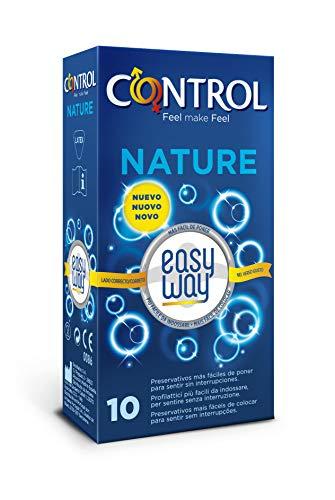 CONTROL Preservativos Nature Easy Way, 10 preservativos con una delicada lengüeta que permite desenrollarlo con un solo gesto