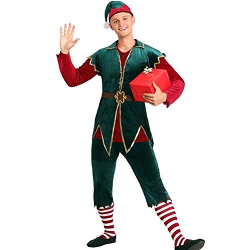 Stecto Disfraz de Elfo para Navidad, Disfraz de Duende de Navidad para Hombres, Disfraz de Elfo navideo para Mujeres y Hombres, Disfraz navideo de Elfo navideo para Mujer