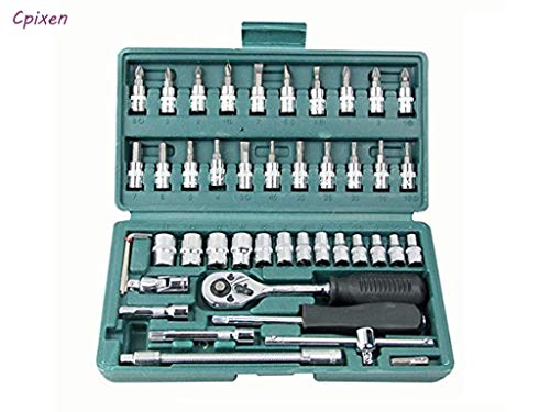 Cpixen 46 in 1 Piece Tool Kit and Screwdriver and Socket Set and Car Repair Tool Ratchet Wrench Set Hand Tool