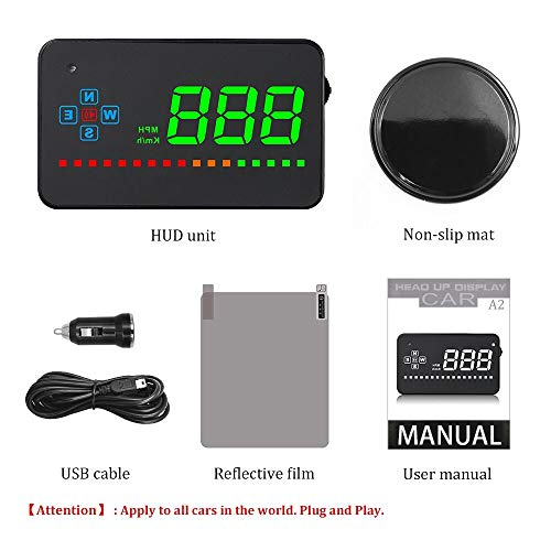 KUFNINE Car HUD Compatible with All Car Speed Projector GPS Digital Car Speedometer A2 Electronics Head Up Display Windshield Projector Universal