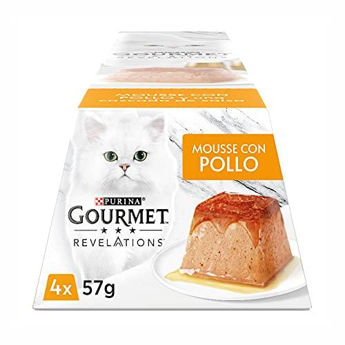 Purina Gourmet Revelations Mousse per Gatto con Pollo e Cascata di Salsa - Multipack 4 x 57 gr
