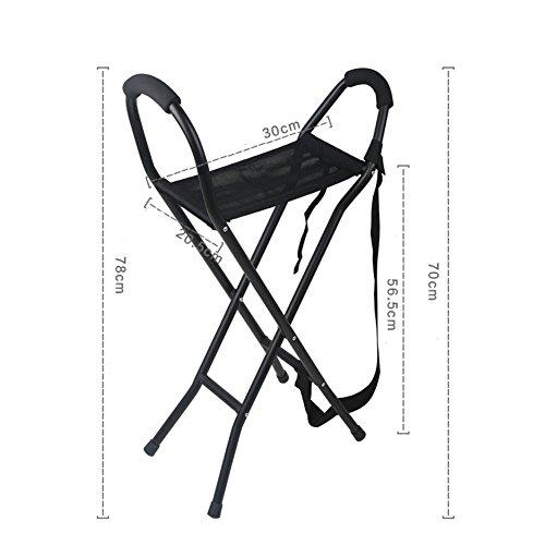 WYMNAME Folding Stock Sitz,Vier füße Rohrstock hocker Alten Menschen Portable Wanderstöcke-Schwarz