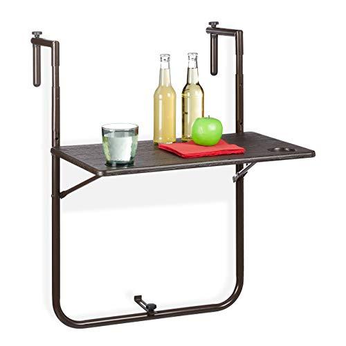 Relaxdays Balkonhängetisch klappbar, 3-Fach höhenverstellbar, Tischplatte in Holz-Optik BxT: 59,5 x 36 cm, braun