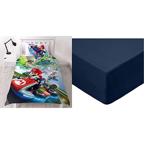 Super Mario Nintendo Kart Single Duvet Cover | Officially Licensed Reversible Two Sided Gravity Design with Matching Pillowcase & AmazonBasics Microfibre Fitted Sheet, Single, Navy Blue