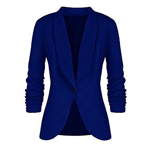 Vertvie Damesblazer met 3/4 mouwen slim fit cardigan geplooide eenkleurige knoop kantoor korte mantel dun elegant pak zomer lente trenchcoat