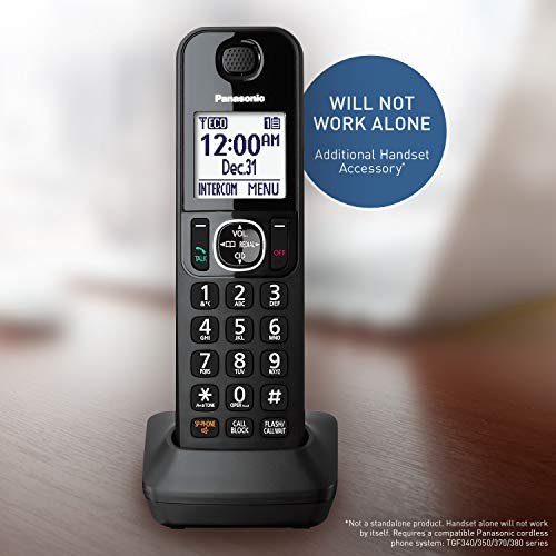 Panasonic KXTGFA30B Handset DECT 6.0 - KX-TGFA30B (Black) Compatible with KX-TGF340/KX-TGF350/KX-TGF370/KX-TGF380 Cordless Phone Systems