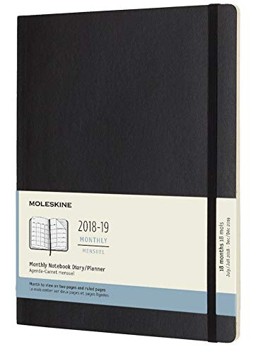 2019 Moleskine Notebook Black Extra Large Monthly 18-month Diary Soft (July 2018 to December 2019) (AGENDAS 18 MOIS)