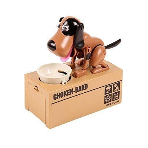 Hucha electrónica loco perro marrón negro 18cm