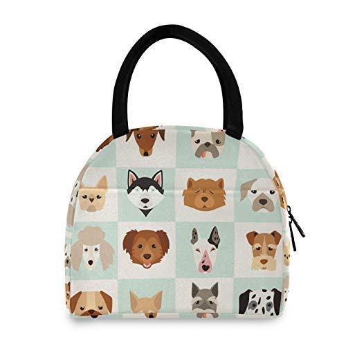 FELIZM Bolsas de almuerzo con diseño de cabeza de perro con aislamiento reutilizable, bolsa de almuerzo portátil para oficina, escuela, picnic, viajes al aire libre
