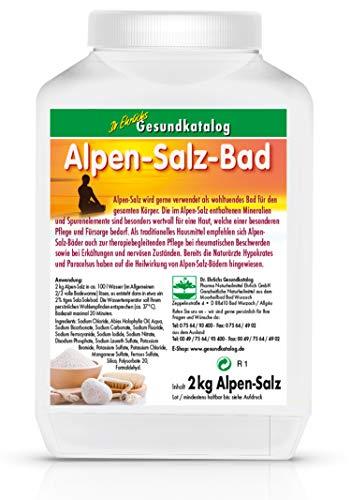 Dr. Ehrlichs Alpen-Salz-Bad Dose 2 kg - Erkältungsbad bei Rheuma, Gelenk-Erkrankungen, Neurodermitis, Schuppenflechte und Allergien mit Mineralien und Spurenelementen aus den Bergen