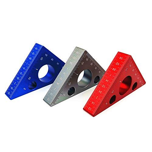 Peahop - Regla de aleación de aluminio de 45 grados, regla de aduanas métrica, triángulo métrico, regla para carpintería, taller, herramientas de edición de madera, azul, pequeño