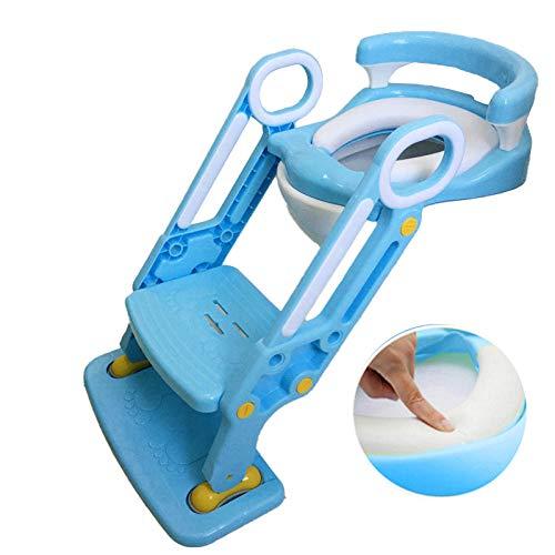Rails Azul Retrete Escalera con RespaldoAsiento WC con Escalera con Escalera,Capacidad de Carga 75kg,Seguro, Antideslizante Asiento WC para para Que Los Niños Alcancen El Inodoro y El Lavabo