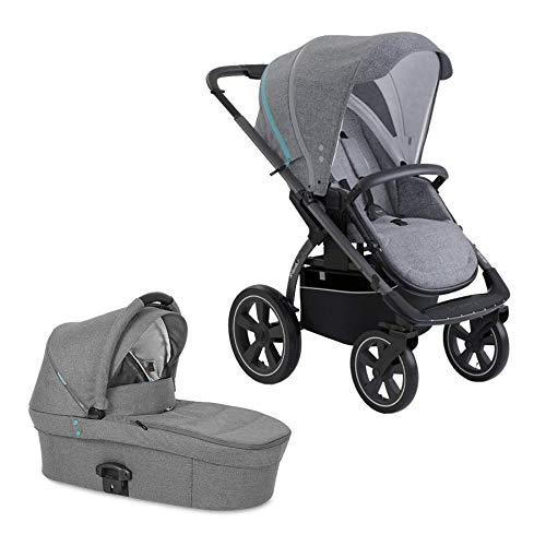 X-lander Kinderwagen 2 in 1 X-Move Komplettset Buggy Babywanne Kombikinderwagen Baby Kinderwagen mit Luftreifen Baby stroller Kinderwagen Set Gelände (Azure grey)
