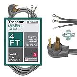 3 Prong Dryer Extension Cord, Gray - 4 Foot Power Cord, 10/3 SRDT, 30 Amp, NEMA 10-30 Plug