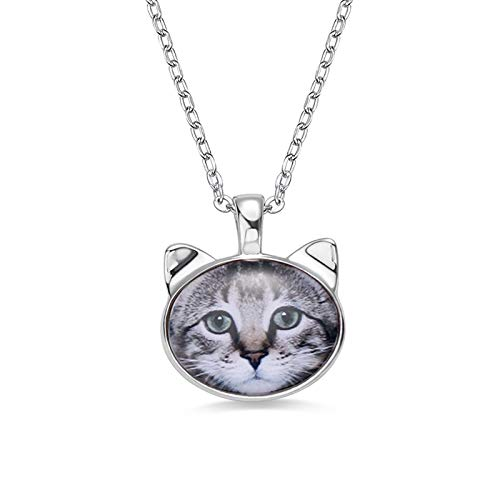 925 Silver Personalized Pet Photo Frame Necklace Engraved Text Pendant Necklace Design Your Pet Necklace Birthday Anniversary Mother's Day Jewelry Silver-14'(35cm)