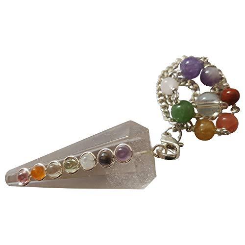 Doble pendulo 7 Chakra con perlas de cristal de roca