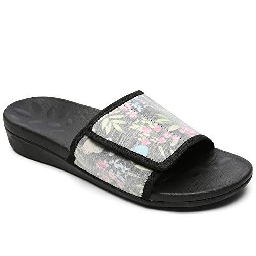 MEGNYA Orthopädische Slides Sandalen für Damen, bequeme Plantarfasziitis-Sandalen für flache Füße, hohe Senkfußunterstützung, Walkingsandalen mit verstellbaren Riemen, W8-Off-White Floral, 35.5 EU