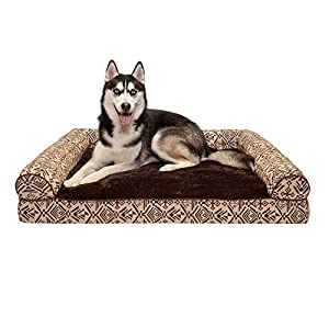 Furhaven Pet Dog Bed – Orthopedic Plush Kilim Southwest Home Decor Traditional Sofa-Style Living Room Couch Pet Bed with Removable Cover for Dogs and Cats, Desert Brown, Jumbo