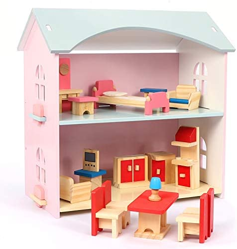 NextX Kids Wooden Dollhouse Toys Dolls Home with Furniture Accessories Toddler Girl Toys Story product image