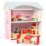 NextX Kids Dollhouse, Pretend Play Toddler Wooden Toys for Girls