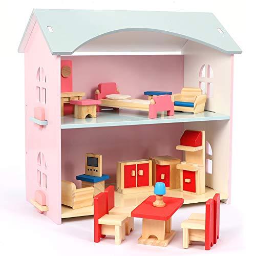 NextX Giocattoli per casa delle Bambole in Legno per Bambini, casa per Bambole con mobili e Accessori, Giocattoli per Bambina