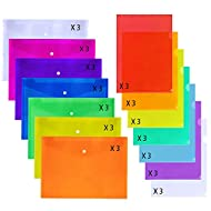 Supla 42 Pack 2 Types Poly Envelopes with Snap Closure School Folders Poly folders Document Folders Clear Colored File Folders L-Type Document Project Pockets US Letter Size A4 7 Colors