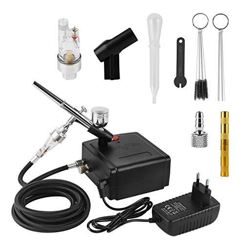 YAOBLUESEA Dual Action Professioneller Airbrush-Kompressor mit Zubehör, Airbrush-Set mit Pistole und Nadel für Modellbau, Handwerk,Tatto