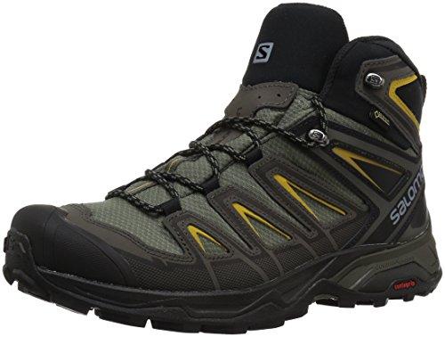 SALOMON X Ultra 3 Mid GTX, Stivali da Escursionismo Alti Uomo, Grigio (Castor Gray/Black/Green Sulphur 000), 43 1/3 EU
