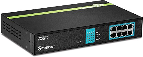TRENDnet 8-Port Gigabit GREENnet PoE+ Switch, 8 x Gigabit PoE+ Ports, Rack Mountable, Up to 30 W Per Port with 110 W Total Power Budget, Ethernet Network Switch, Metal, TPE-TG81g ( RENEWED)
