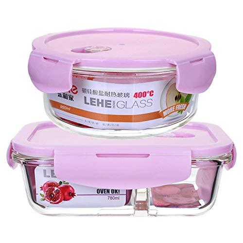 SGHTYJ Lunch Box Bento Boîte Boîte à Lunch spécifique au Micro Ondes Verre résistant à la Chaleur Rectangulaire 640 ML + Rond 400 ML avec Sac à Lunch