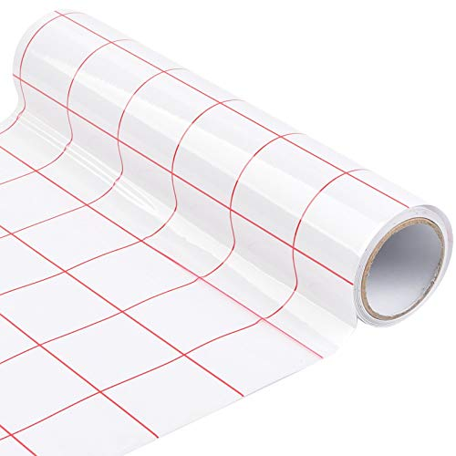 WOWOSS Transferfolie Plotter für Vinyl, Transferpapier, Wasserschiebefolie, Decalpapier mit Gitterlinien, 30 * 500cm Übertragungsfolie Plotter für Abziehbilder, Schilder, Fenster, Aufkleber