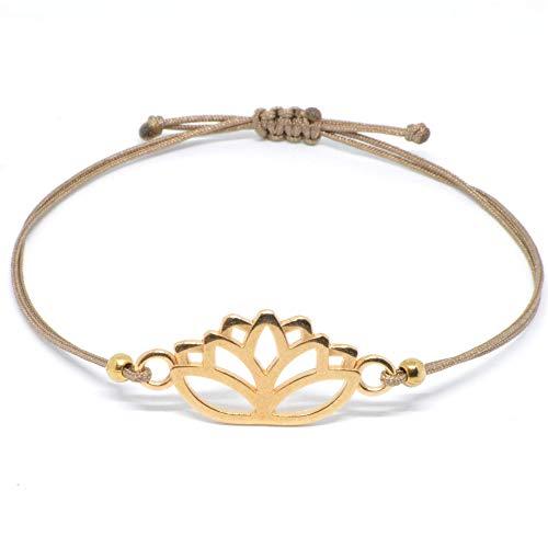 Lotus Armband Roségold Selfmade Jewelry Lotusblüten Armkettchen - größenverstellbar auf braunem Band Handmade Armbändchen