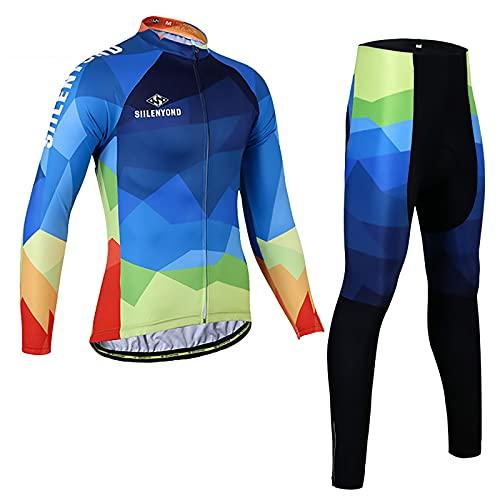 メンズサイクリングジャージー長袖と3Dジェルパッド入りパンツセット 自転車用衣類MTB乗馬用自転車アパレルスポーツウェア マウンテンバイクロードタイツ服装 (Color : Blue, Size : XL)