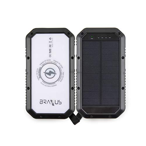 Braxus Solar Power Bank - 20000 mAh Portable Solar Charger - Qi Wireless Charger with Three USB Ports - External Battery Pack with Three LED Flashlights Settings - Water Resistant and Shockproof