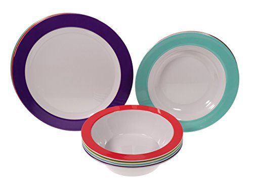 Handi-Ware 12-Piece MultiColor Classic Wide Rim Melamine Set - Indoor/Outdoor Dinnerware Set - Service For 4 - by Unity (Assorted Colors)