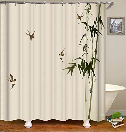 ZZZdz schildersdecoratie. Groene bamboe. De kleine zwalbe vliegen Douchegordijn. Waterdicht. Eenvoudig te reinigen. 180 x 180 cm.