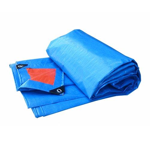 YUJIE dekzeil zonwering dikke waterdicht canvas isolatie doek buiten caravan luifel regen zeil, dikte 0,35 mm, 160 G / M2, 19 maten, blauw + oranje