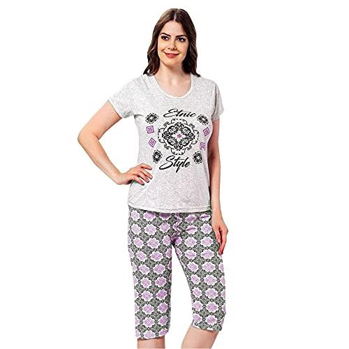 Loira Rosa Pijama Mujer Pirata Pijama Dos Piezas Pijama Camiseta Manga Corta y pantalón Pirata Pijama algodón de Primavera y Verano.