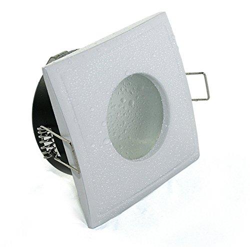 Decken Einbauspots IP65 Aqua Bad & Dusche Feuchtraum Nassraum, eckig oder rund, 12V und 230V für LED oder Halogen Leuchtmittel (eckig weiss)