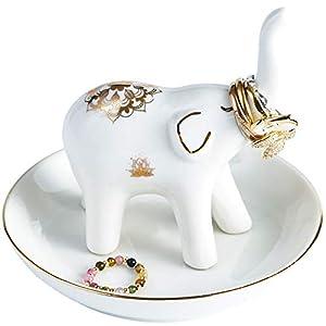 LUOYA Ceramic Elephant Ring Holder Jewelry Tray,Desktop Jewelry Display Organizer?Home Decor,Wedding Birthday Gift -White (elephant)