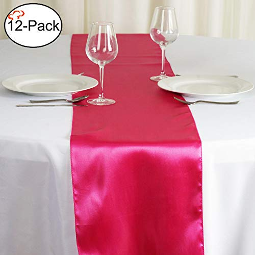Tiger Chef 12-Pack Fuchsia 12 x 108 inches Long Satin Table Runner for Wedding, Table Runners fit Rectange and Round Table Decorations for Birthday Parties, Banquets, Graduations, Engagements