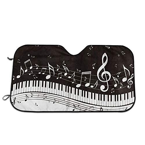 Piano Keys - Parasol musical para parabrisas de coche, ajuste universal, mantiene tu vehículo fresco, UV sol y reflector de calor