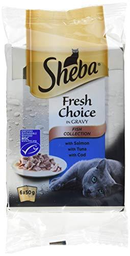 Sheba Fresh Choice - Pienso para Gatos, de Pescado, 6 Bolsas de 50 g Cada uno, Pack de 8Unidades, 48Bolsas en Total