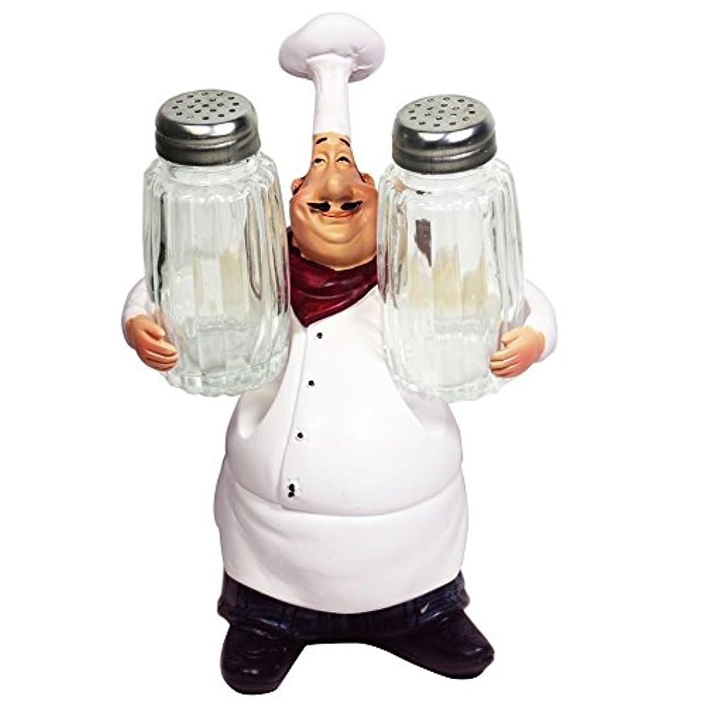 KiaoTime 98920 Italian Chef Figurines Kitchen Decor with Salt Pepper Shaker French Chef Figurine Fat Chef Statue Collectible Figurines Chef