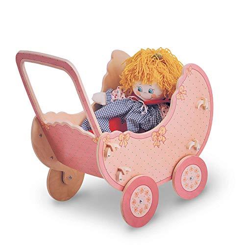 Dida - Cochecito de Madera para muñecas - Decoración: Rosa