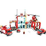 General Jim's Fire Station Toy Bricks Set Firehouse Building Blocks - Stem Toys, House, Engine + Vehicles