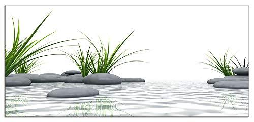 Artland Spritzschutz Küche aus Alu für Herd Spüle 55x120 cm Küchenrückwand mit Motiv Natur Zen Wellness Spa Yoga Asien Gräser Stein Weiß T6CD