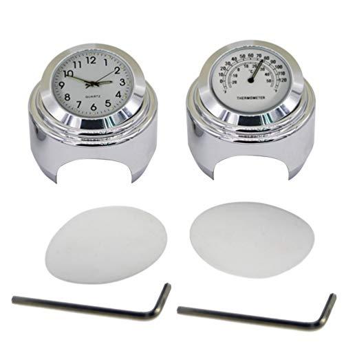 Garneck - Conjunto de 2 piezas de 22 a 25 mm para manillar de moto, reloj y termómetro para Yamaha Kawasaki Honda Suzuki (blanco)