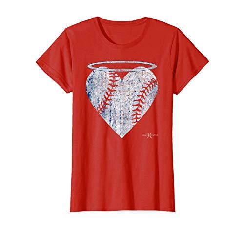 Vintage Angel Baseball Heart with Halo Tee Shirt